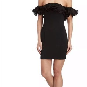 Jay Godfrey Mini Black Dress Off Shoulder Ruffle